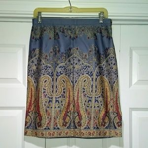 Talbots paisley aline skirt
